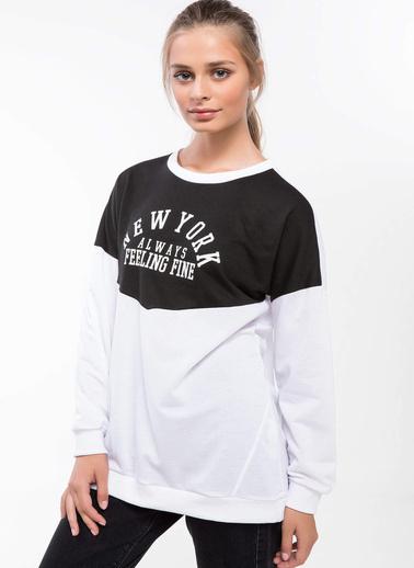 DeFacto Yazı Baskılı Renk Bloklu Bluz Beyaz